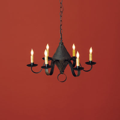 Punched-tin chandelier