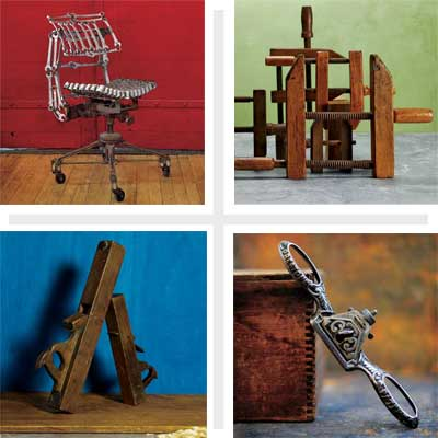 composite image of four unusual handtools