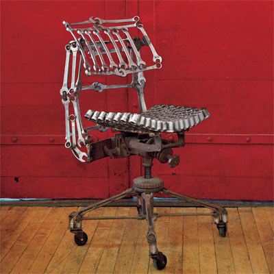 chair made out of old wrenches and socket sets