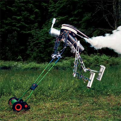 flying robot mowing a lawn