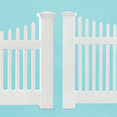 comparison of two vinyl picket fence designs in different price ranges