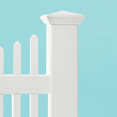 preassmbled panels and hollow posts on the high-end new england scalloped square vinyl picket fence