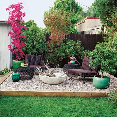 speckled pea gravel patio