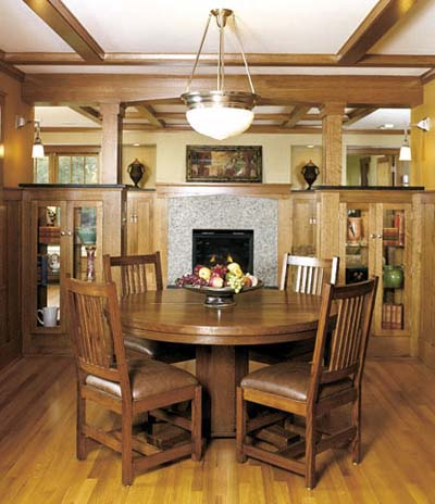 Craftsman dining room with built-in china closets