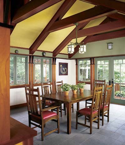 Craftsman with exposed rafters in the dining room