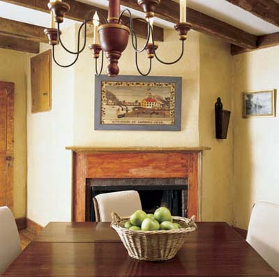 Cape Cod dining room with fireplace