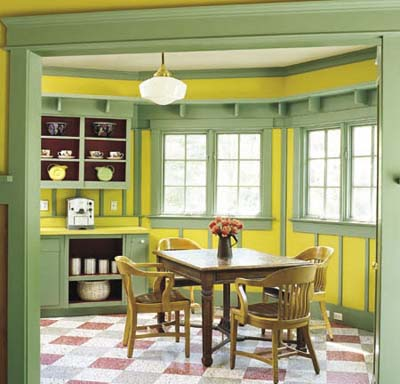 green and yellow kitchen dining area