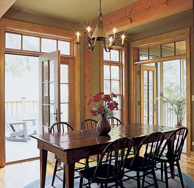 Dining room with French doors onto deck