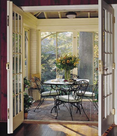 Screen porch patio dining table