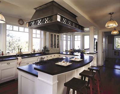 black granite kitchen island counter dining area