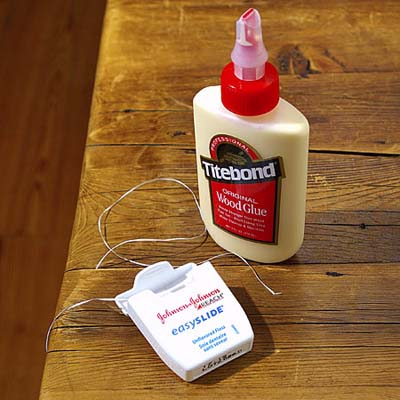 dental floss for working glue into cracks in woodwork