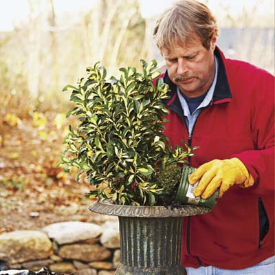 Roger Cook watering the plants