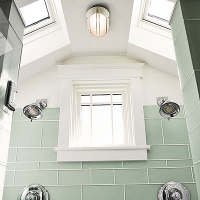 Skylights and windows in master bathroom