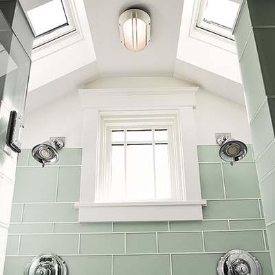 Skylights and windows in master bathroom