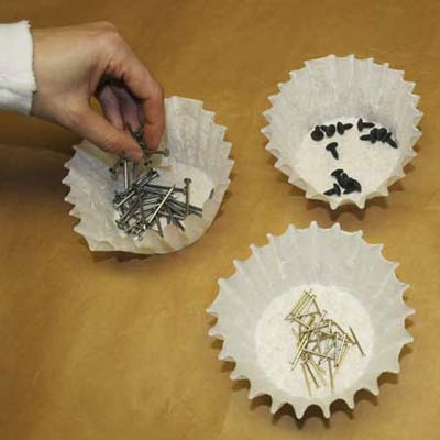 keep hardware organized in coffee filter