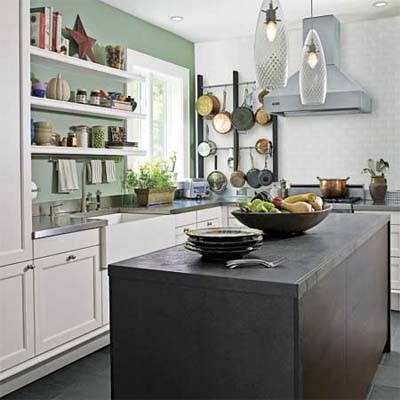 kitchen with a green accent wall