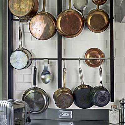 custom wall-mounted pot rack
