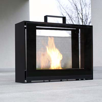 Indoor outdoor fireplace entertaining in small spaces for Small den with fireplace