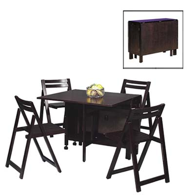 Folding Hardwood Dinette Set in Espresso by Linon