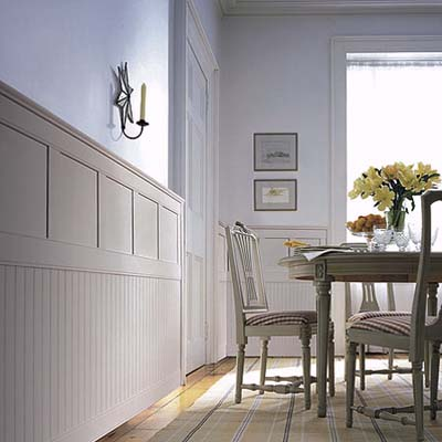 Combination wainscoting designs layouts and materials for Wainscoting dining room ideas