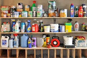 household products on a shelf