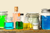colorful potions in jars and droppers