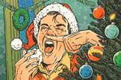 illustration of man sneezing beside of Christmas tree