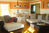 oranges walls with white wainscoting