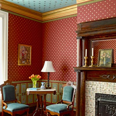 1879 parlor with paint stenciling to look like period wallpaper