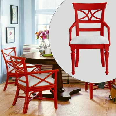 red armchair with white upholster seat