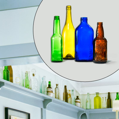 colorful old recycled bottles