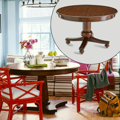 wood pedestal table with leaf and wheels 