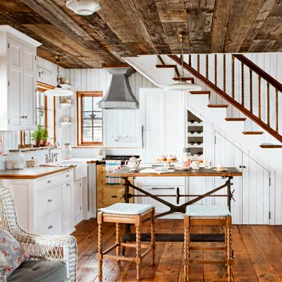 Interior Design Schools on Coastal Cottage Kitchen With Wood Plank Walls  Vintage Style Details