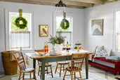 dining room with festive Christmas decorations