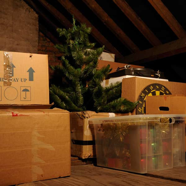 attic full of Christmas decorations for storage