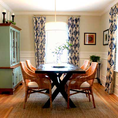 dining room budget redo after with white wainscoting, and wood and wicker furniture