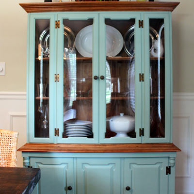 dining room budget redo after hutch painted walls wainscoting look