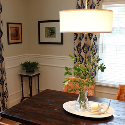 dining room budget redo after pendant light mahogany stain table wicker chairs wainscoting
