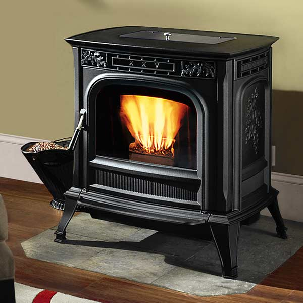 pellet stove in living room