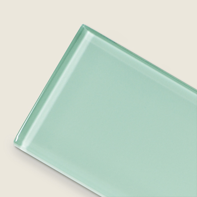 subway tile in light blue glass