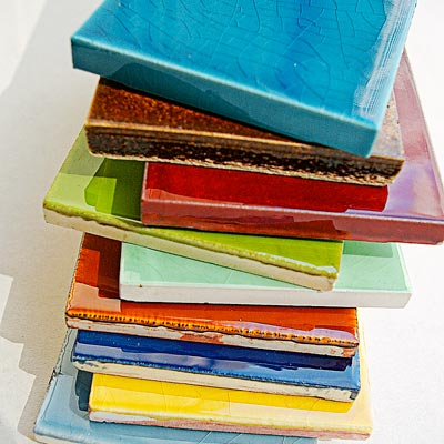 stack of colorful tiles