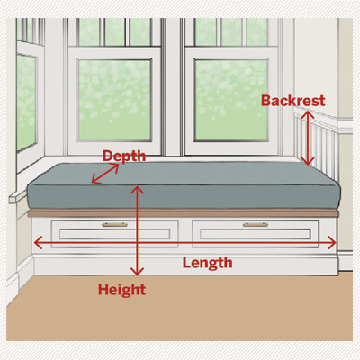 illustration of window seat dimensions