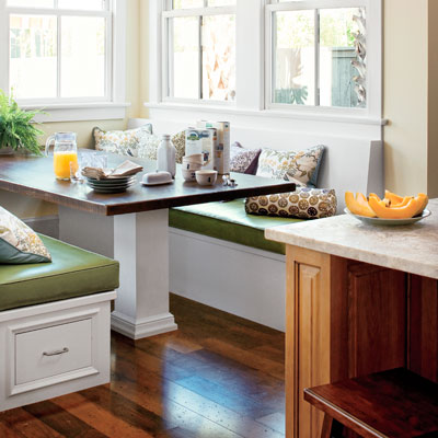 window seat in kitchen windowed alcove