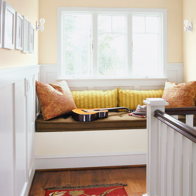 window seat at stair landing