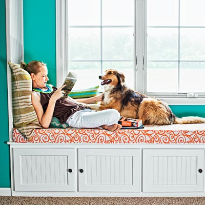 window seat with doors for storage