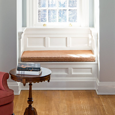 window seat with recessed-panel design