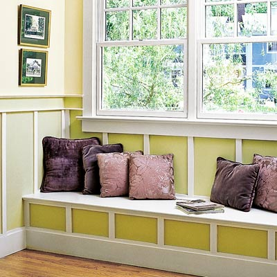 window seat with vertical timbering
