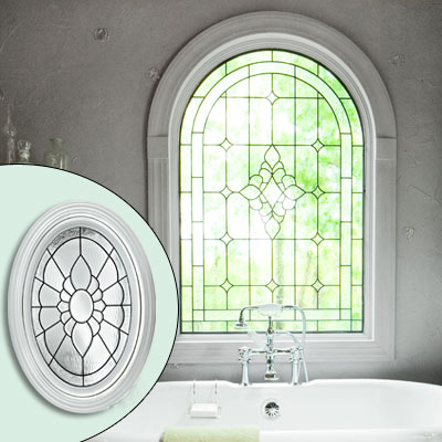 lead glass oval floral-pattern window 