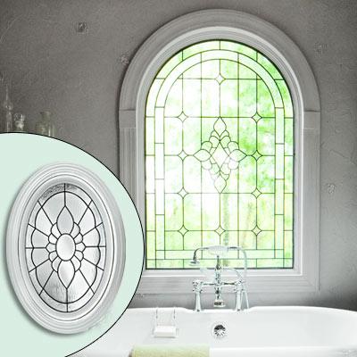 lead glass oval floral-pattern window