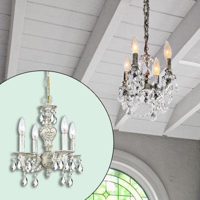 antique metal fixture chandelier with faceted crystal drops